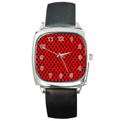 Polka Dot Black Red Hole Backgrounds Square Metal Watch by Mariart