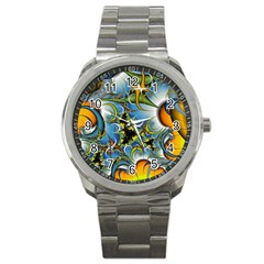 High Detailed Fractal Image Background With Abstract Streak Shape Sport Metal Watch