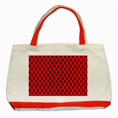 Polka Dot Black Red Hole Backgrounds Classic Tote Bag (red) by Mariart