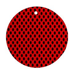 Polka Dot Black Red Hole Backgrounds Round Ornament (two Sides) by Mariart