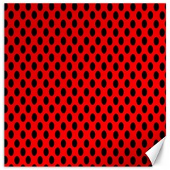 Polka Dot Black Red Hole Backgrounds Canvas 16  X 16   by Mariart