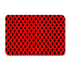 Polka Dot Black Red Hole Backgrounds Small Doormat  by Mariart