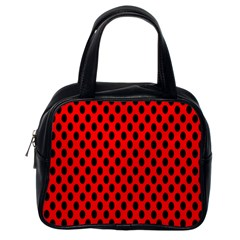 Polka Dot Black Red Hole Backgrounds Classic Handbags (one Side) by Mariart