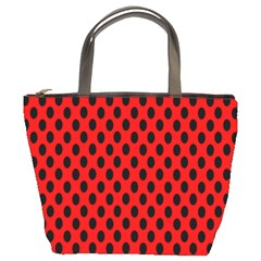 Polka Dot Black Red Hole Backgrounds Bucket Bags by Mariart