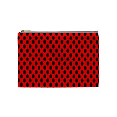 Polka Dot Black Red Hole Backgrounds Cosmetic Bag (medium)  by Mariart