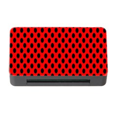 Polka Dot Black Red Hole Backgrounds Memory Card Reader With Cf by Mariart