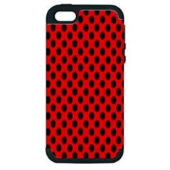 Polka Dot Black Red Hole Backgrounds Apple Iphone 5 Hardshell Case (pc+silicone) by Mariart