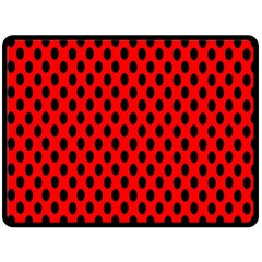Polka Dot Black Red Hole Backgrounds Double Sided Fleece Blanket (large)  by Mariart