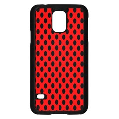 Polka Dot Black Red Hole Backgrounds Samsung Galaxy S5 Case (black) by Mariart