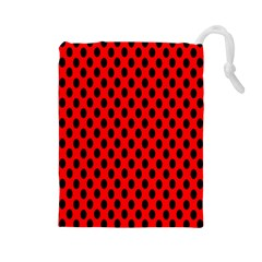 Polka Dot Black Red Hole Backgrounds Drawstring Pouches (large)  by Mariart