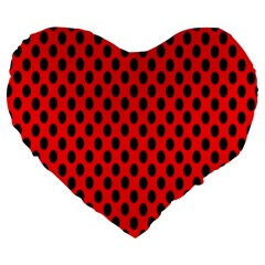 Polka Dot Black Red Hole Backgrounds Large 19  Premium Flano Heart Shape Cushions by Mariart