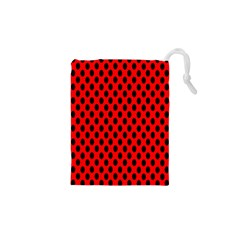 Polka Dot Black Red Hole Backgrounds Drawstring Pouches (xs)  by Mariart