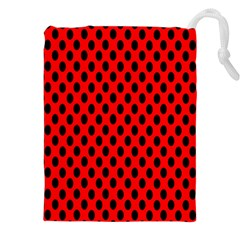 Polka Dot Black Red Hole Backgrounds Drawstring Pouches (xxl) by Mariart