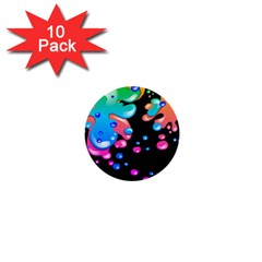 Neon Paint Splatter Background Club 1  Mini Buttons (10 Pack)  by Mariart