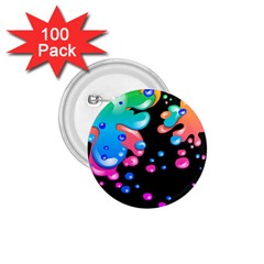 Neon Paint Splatter Background Club 1 75  Buttons (100 Pack)  by Mariart