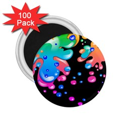 Neon Paint Splatter Background Club 2 25  Magnets (100 Pack)  by Mariart