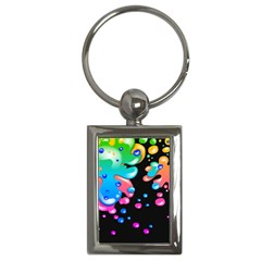 Neon Paint Splatter Background Club Key Chains (rectangle)  by Mariart