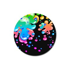 Neon Paint Splatter Background Club Magnet 3  (round) by Mariart