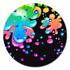 Neon Paint Splatter Background Club Magnet 5  (round) by Mariart