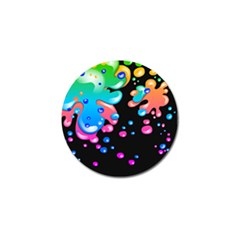 Neon Paint Splatter Background Club Golf Ball Marker by Mariart