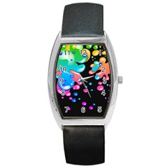Neon Paint Splatter Background Club Barrel Style Metal Watch by Mariart