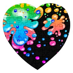 Neon Paint Splatter Background Club Jigsaw Puzzle (heart) by Mariart