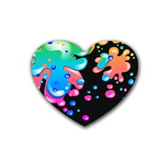 Neon Paint Splatter Background Club Rubber Coaster (heart)  by Mariart
