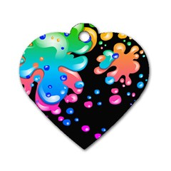 Neon Paint Splatter Background Club Dog Tag Heart (two Sides) by Mariart
