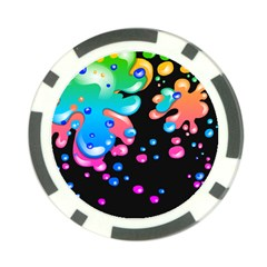 Neon Paint Splatter Background Club Poker Chip Card Guard by Mariart