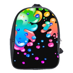 Neon Paint Splatter Background Club School Bags(large)  by Mariart