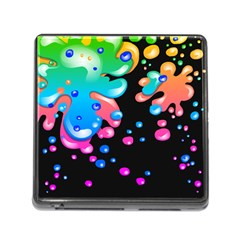 Neon Paint Splatter Background Club Memory Card Reader (square) by Mariart