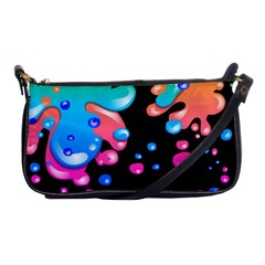 Neon Paint Splatter Background Club Shoulder Clutch Bags by Mariart