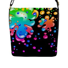 Neon Paint Splatter Background Club Flap Messenger Bag (l)  by Mariart