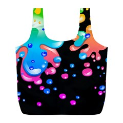 Neon Paint Splatter Background Club Full Print Recycle Bags (l)  by Mariart