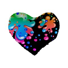 Neon Paint Splatter Background Club Standard 16  Premium Flano Heart Shape Cushions by Mariart