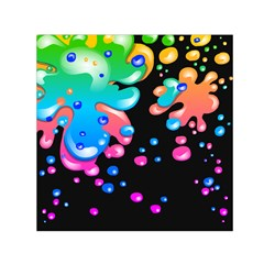 Neon Paint Splatter Background Club Small Satin Scarf (square) by Mariart