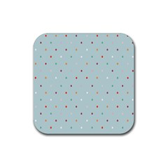 Polka Dot Flooring Blue Orange Blur Spot Rubber Square Coaster (4 Pack)  by Mariart