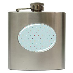 Polka Dot Flooring Blue Orange Blur Spot Hip Flask (6 Oz) by Mariart