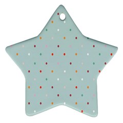 Polka Dot Flooring Blue Orange Blur Spot Star Ornament (two Sides) by Mariart
