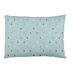 Polka Dot Flooring Blue Orange Blur Spot Pillow Case by Mariart