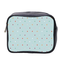 Polka Dot Flooring Blue Orange Blur Spot Mini Toiletries Bag 2 Side by Mariart