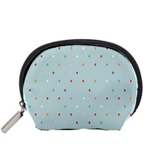 Polka Dot Flooring Blue Orange Blur Spot Accessory Pouches (small)  by Mariart