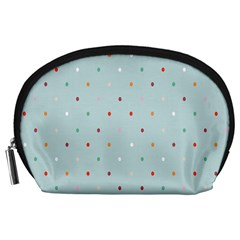 Polka Dot Flooring Blue Orange Blur Spot Accessory Pouches (large)  by Mariart