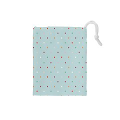 Polka Dot Flooring Blue Orange Blur Spot Drawstring Pouches (small)