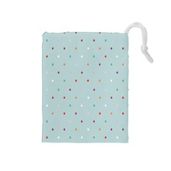 Polka Dot Flooring Blue Orange Blur Spot Drawstring Pouches (medium)  by Mariart