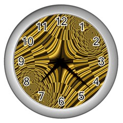 Fractal Golden River Wall Clocks (silver)  by Simbadda