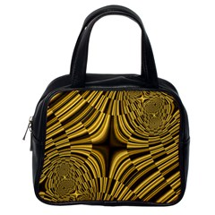 Fractal Golden River Classic Handbags (one Side) by Simbadda