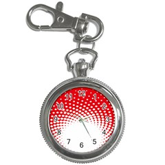 Polka Dot Circle Hole Red White Key Chain Watches by Mariart