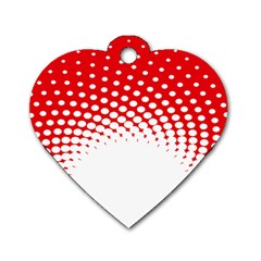 Polka Dot Circle Hole Red White Dog Tag Heart (two Sides)