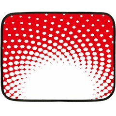 Polka Dot Circle Hole Red White Fleece Blanket (mini) by Mariart